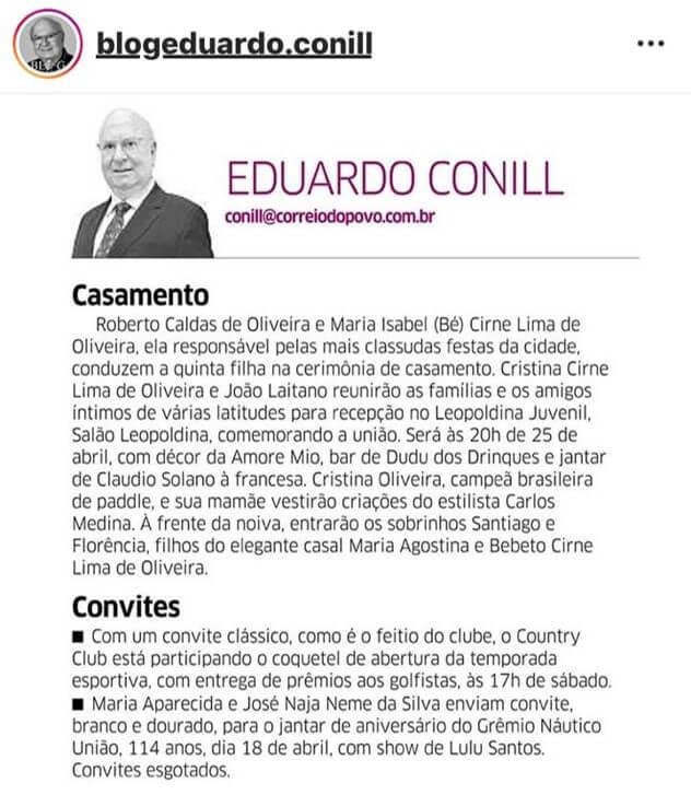 Dudu Drinks é destaque na coluna de Eduardo Conill